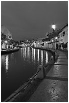 Melaka river promenade at night. Malacca City, Malaysia (black and white)