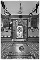 Sri Poyyatha Vinayagar Moorthi Temple. Malacca City, Malaysia (black and white)