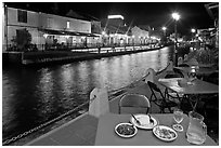 Riverside dining. Malacca City, Malaysia ( black and white)