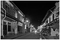 Chinatown street at night. Malacca City, Malaysia (black and white)