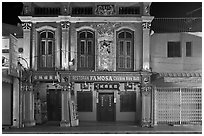 Restaurant facade at night. Malacca City, Malaysia ( black and white)