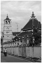 Minaret and Javanese style roof, Masjid Kampung Hulu. Malacca City, Malaysia ( black and white)