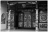 Hokkien Huay Kuam temple gate. Malacca City, Malaysia ( black and white)