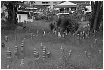 Overgrown Muslim burying grounds. Malacca City, Malaysia (black and white)