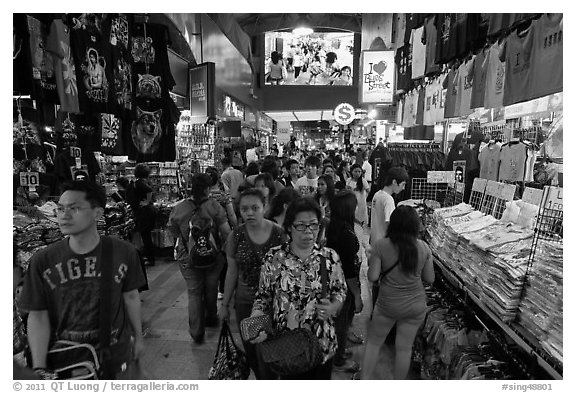 Bugis Street Market. Singapore (black and white)