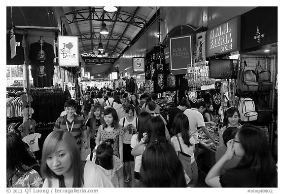 Crowds in Bugis Street Market. Singapore (black and white)
