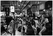 Crowds in Bugis Street Market. Singapore ( black and white)