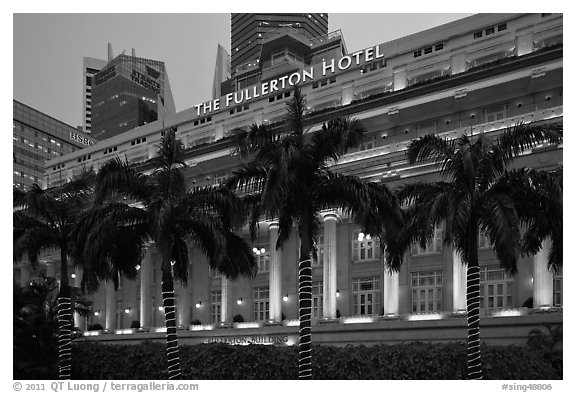 Black And White Picture Photo Fullerton Hotel Facade At