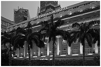 Fullerton Hotel facade at dusk. Singapore (black and white)