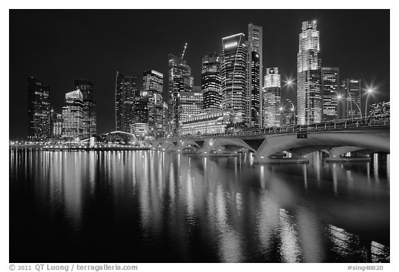 Black and white picture photo bridge and singapore skyline at night singapore