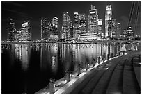 Central Business District skyline and Marina Bay at night. Singapore (black and white)