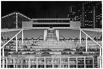 Stadium and hotels at night. Singapore ( black and white)