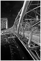 Double Helix Bridge at night. Singapore (black and white)