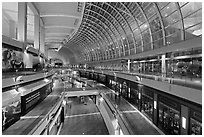 Inside the Shoppes at  Marina Bay Sands. Singapore ( black and white)