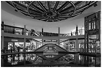 Pool and canal in the Shoppes, Marina Bay Sands. Singapore ( black and white)