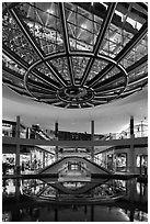 Canal and bridge, the Shoppes, Marina Bay Sands. Singapore ( black and white)