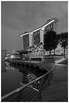 Marina Bay Sands resort, twilight. Singapore (black and white)
