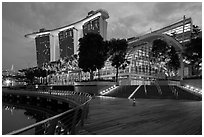 Marina Bay Sands shoppes and hotel, twilight. Singapore ( black and white)