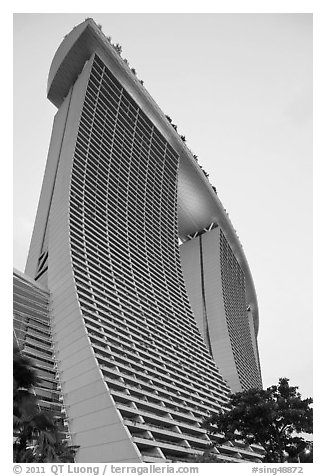 55-storey hotel towers, Marina Bay Sands hotel. Singapore (black and white)