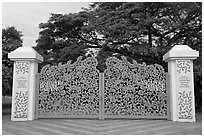 Entrance of Singapore Botanical Gardens. Singapore (black and white)