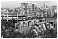 Appartment buildings from Mt Faber. Singapore (black and white)
