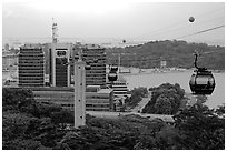 Mount Faber cable car. Singapore (black and white)