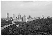 Forested park and high-rise towers. Singapore (black and white)