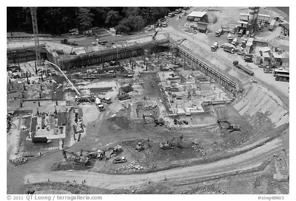 Construction site from above, Sentosa Island. Singapore (black and white)