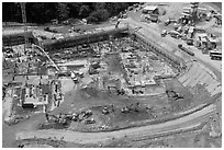 Construction site from above, Sentosa Island. Singapore ( black and white)