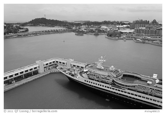 Cruise ship and Sentosa Island. Singapore