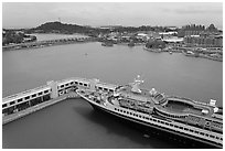 Cruise ship and Sentosa Island. Singapore (black and white)