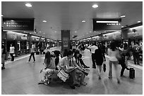 MRT subway train station. Singapore ( black and white)
