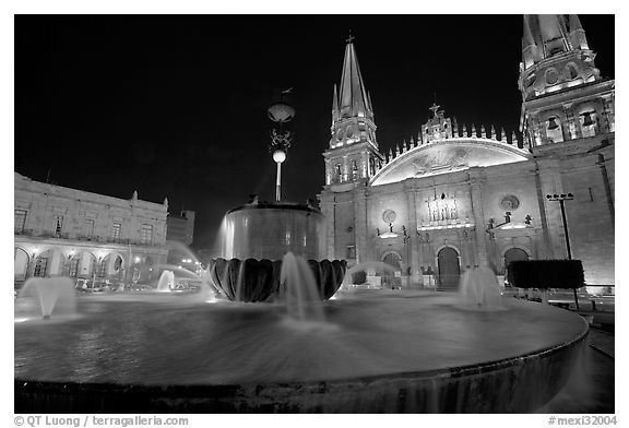 Plazza de los Laureles, fountain, and Cathedral by night. Guadalajara, Jalisco, Mexico (black and white)