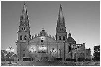 Cathedral at dawn. Guadalajara, Jalisco, Mexico (black and white)