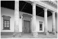 Exterior entrance porch of Hospicios de Cabanas. Guadalajara, Jalisco, Mexico (black and white)