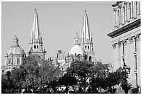 Cathedral seen across Plazza dela Liberacion. Guadalajara, Jalisco, Mexico (black and white)