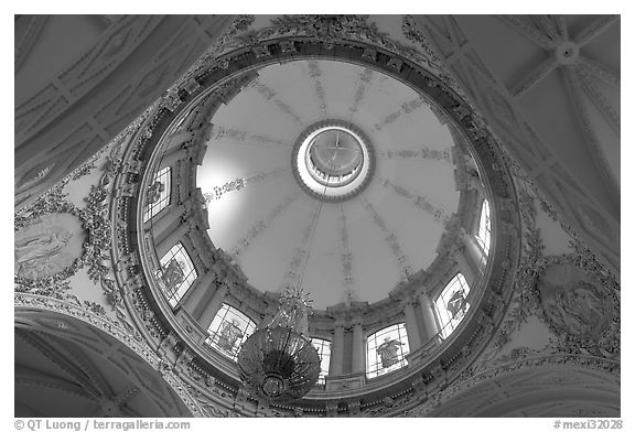Dome fo the Cathedral seen from below. Guadalajara, Jalisco, Mexico (black and white)