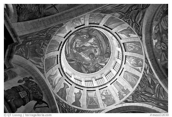 Dome of the chapel of Hospicios de Cabanas featuring The Man of Fire by Jose Clemente Orozco. Guadalajara, Jalisco, Mexico (black and white)