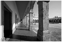 Deambulatory and main courtyard inside Hospicios de Cabanas. Guadalajara, Jalisco, Mexico (black and white)