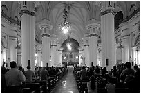 Evening mass in the Cathedral. Guadalajara, Jalisco, Mexico (black and white)