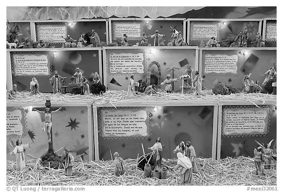 Scenes from the bible illustrated with figurines, Tlaquepaque. Jalisco, Mexico (black and white)