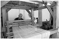 Weaver operating a traditional machine, Tlaquepaque. Jalisco, Mexico ( black and white)
