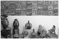 Ceramic pieces and tiles, museo regional de la ceramica de Jalisco, Tlaquepaque. Jalisco, Mexico ( black and white)