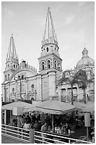 Restaurant and cathedral, late afternoon. Guadalajara, Jalisco, Mexico (black and white)