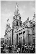 Street crossing and Cathedral, late afternoon. Guadalajara, Jalisco, Mexico ( black and white)