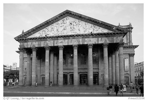 Teatro Degollado. Guadalajara, Jalisco, Mexico (black and white)
