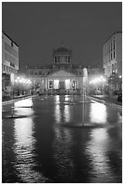 Plaza Tapatia at night with Hospicio Cabanas reflected in basin. Guadalajara, Jalisco, Mexico ( black and white)
