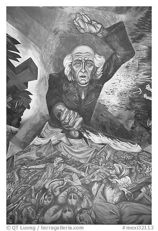 Portrait of Miguel Hidalgo painted by muralist Jose Clemente Orozco in the Government Palace. Guadalajara, Jalisco, Mexico (black and white)