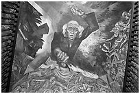 Stairway ceiling with portrait of angry Miguel Hidalgo by  Jose Clemente Orozco. Guadalajara, Jalisco, Mexico ( black and white)