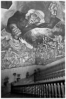 Stairway roof with portrait of  Miguel Hidalgo by  Jose Clemente Orozco in the Palacio del Gobernio. Guadalajara, Jalisco, Mexico (black and white)